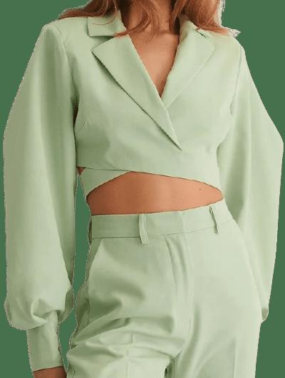 Light Green Overlapped Puffy Sleeve Blazer-NA-KD