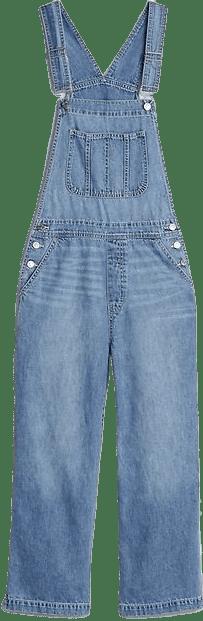 Light Indigo Wide-Leg Overalls