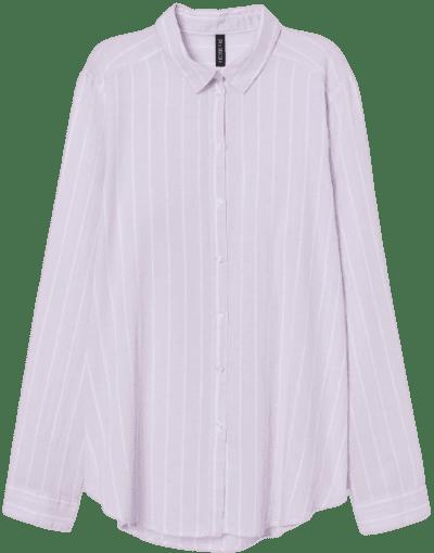 Light Purple Striped Cotton Poplin Shirt