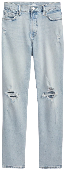 Light Wash High-Waisted Straight-Leg Distressed Jeans