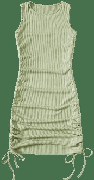 Lime Green Drawstring Side Rib Bodycon Dress