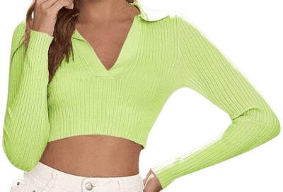 Lime Green Rib-Knit Fitted Crop Sweater-Shein
