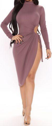 Mauve Slitsation Long Sleeve Midi Dress-Fashion Nova