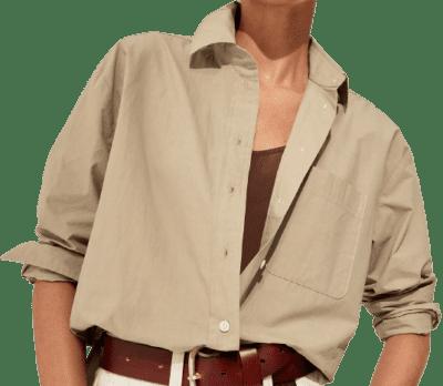 Maverick Tan Oversized Poplin Shirt-Banana Republic