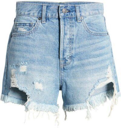 Medium Wash Chewed Hem Distressed Denim Shorts-Hidden Jeans