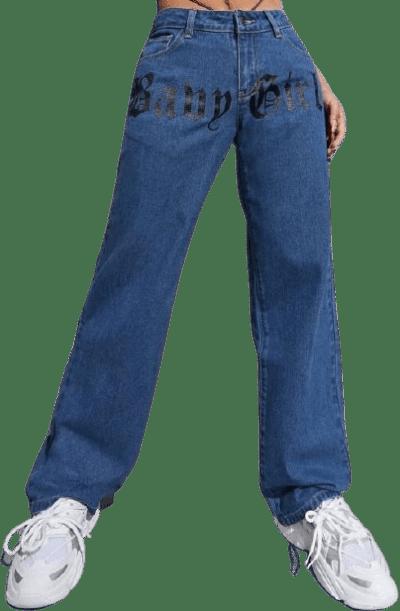 Medium Wash High Waist Letter Graphic Jeans-Shein