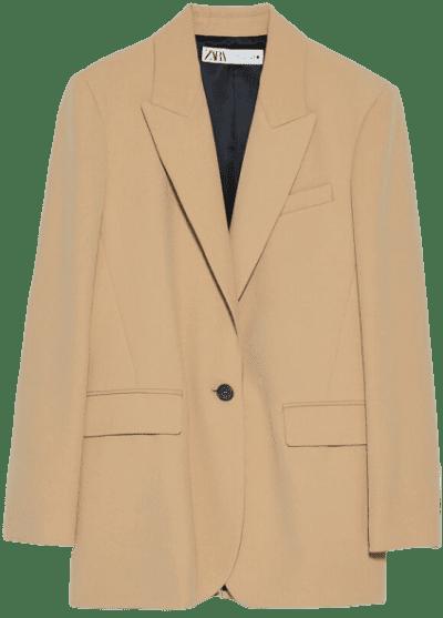 Mid-Camel Oversized Blazer-Zara