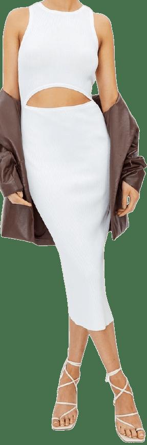 Milk Cutout Knit Midi Dress-Glassons