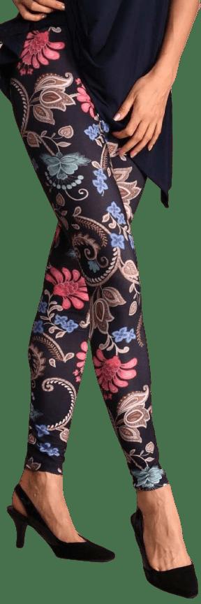 Navy Floral Leggings-Lbisse