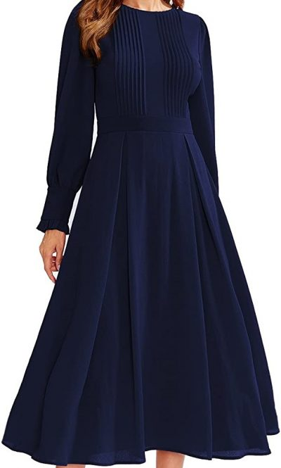 Navy Frilled Long Sleeve Fit & Flare Dress