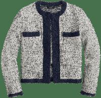 Navy Natural Tweed Cropped Jacket