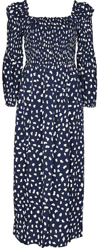 Navy Shirred Puff Sleeve Maxi Dress