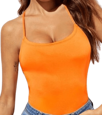 Neon Orange Lace Up Back Cami Top-Shein