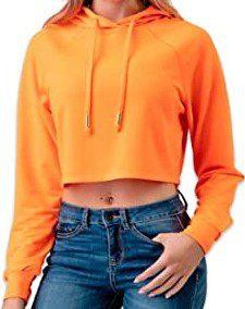 Neon Orange Pull Over Crop Top Hoodie-Neon Nation