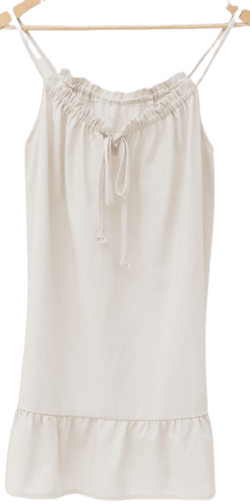 Neutral Remnants Linen Flounce Mini Dress-Urban Renewal