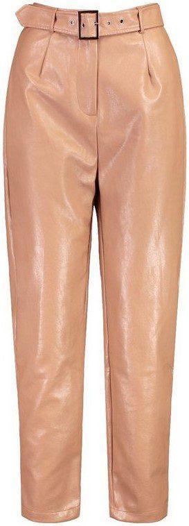 Nude Paperbag Waist Faux Leather Slim Fit Pants-Boohoo