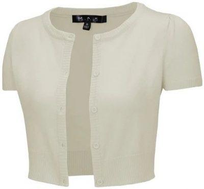 Oatmeal Cropped Short Sleeve Cardigan-Yemak