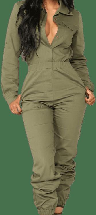 Olive Aviator Babe Jumpsuit