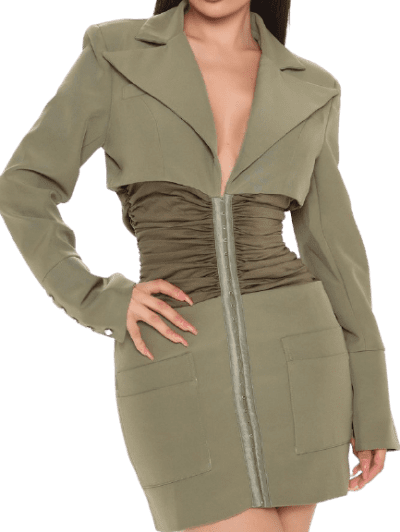 Olive Passion Talk Blazer Dress