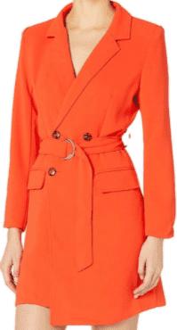 Orange Dress with Asymmetrical belt - KENDALL + KYLIE