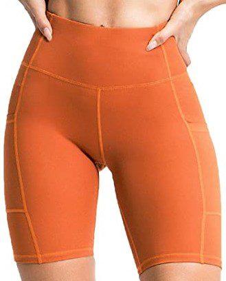 Orange High Waist Activewear Shorts-Anchovy