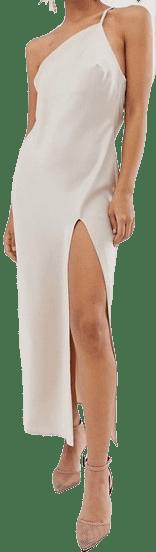 Oyster One Shoulder Midaxi Dress In Satin With Drape Back-Asos Design
