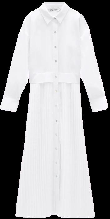 Oyster White Poplin Shirt Dress