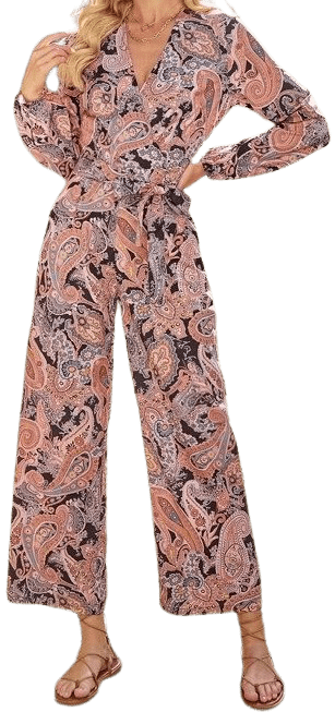 Paisley Print Wide Leg Belted Jumpsuit-Shein