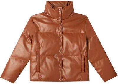 Pale Camel Faux Leather Puffer Jacket-Stradivarius