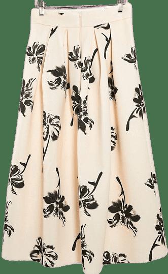Pale Peach Floral Printed Midi Prom Scuba Skirt