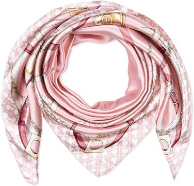 Pale Pink Chains And Belts Scarf