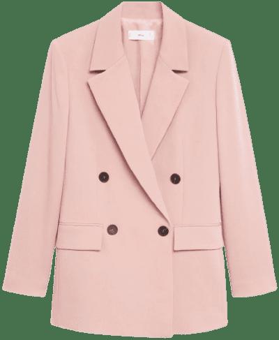 Pastel Pink Flowy Suit Blazer-Mango