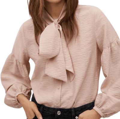 Pastel Pink Tie-Neck Blouse-Mango