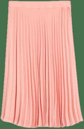 Peach Pleated Midi Skirt-Mango