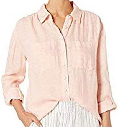 Persimmon Long Sleeve Button Down Top-Joie