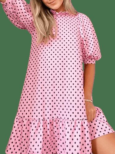 Pink Black Polka Dots Mini Dress