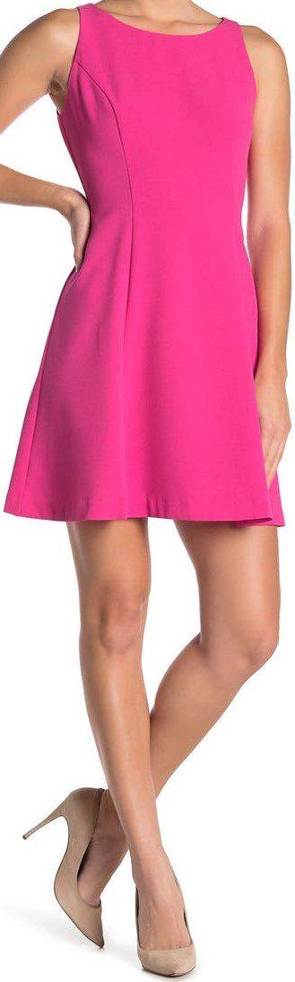 Pink Crepe Fit And Flare Dress-Eliza J