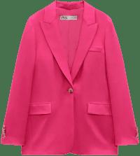 Pink Flowy Straight Cut Blazer-Zara