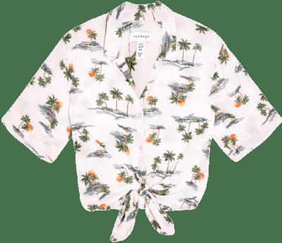 Pink Multi Hawaiian Print Front Knot Top