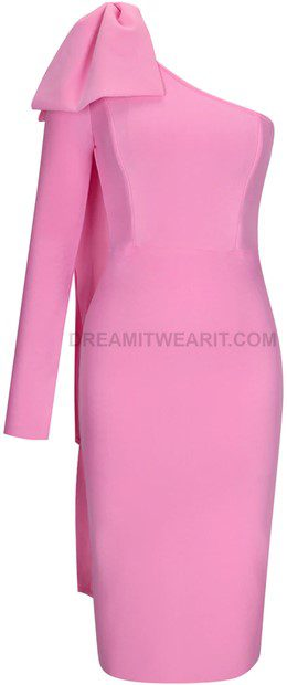 Pink One Sleeve Bow Midi Dress-Dream It Wear It