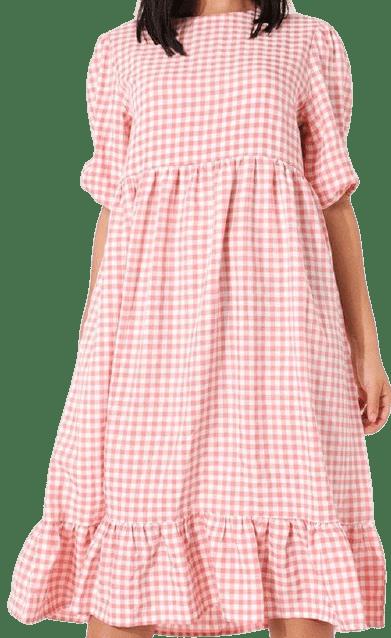 Pink Puff Sleeve Frill Midi Smock Dress