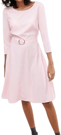 Pink Ring Belted Midi Dress-2nd Day