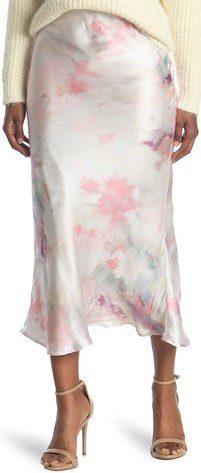 Pink Watercolor Tie Dye Satin Midi Skirt-En Saison