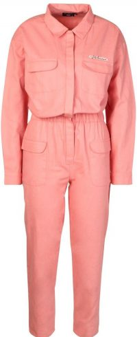 Pink Woven Embroidered Utility Denim Coveralls