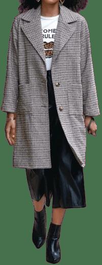 Plaid Single Breasted Lapel Collar Coat-Shein