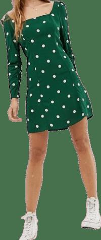Polka Dot Square Neck Mini Dress-Nobody's Child