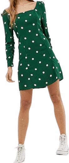Polka Dot Square Neck Mini Dress-Nobody's Child