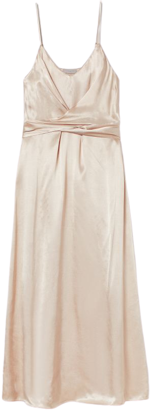 Powder Beige Wrap-Detail Satin Dress