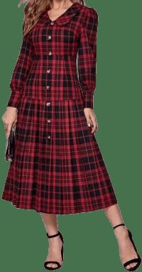 Puff Sleeve Pleated Hem Tartan Dress-Shein