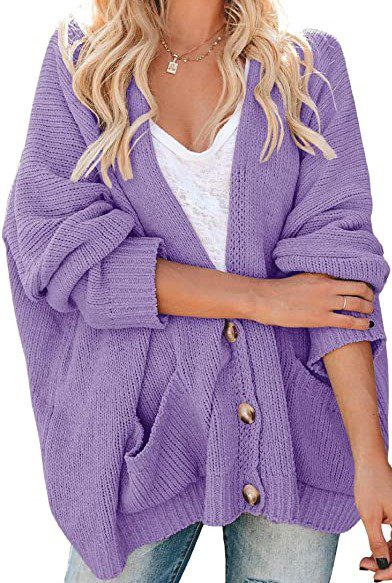 Purple Chunky Cable Knit Cardigan-Gemijack